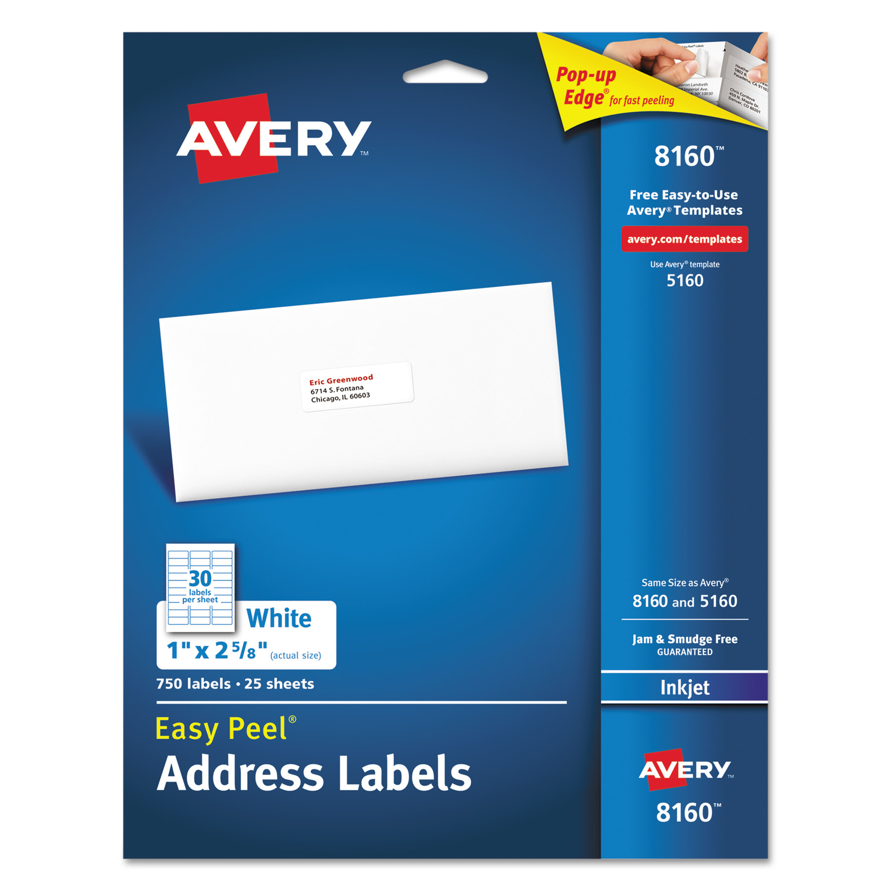 "Avery(R) Easy Peel(R) Address Labels for Inkjet Printers 8160, 1"" x 2-5/8"", Pack of 750"