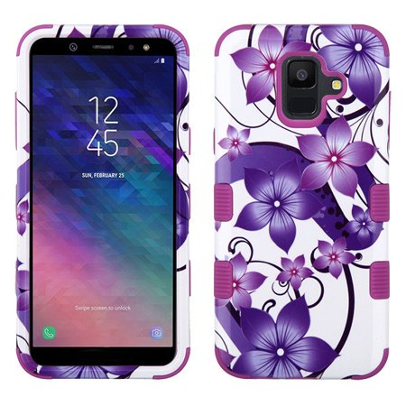 Samsung Galaxy A6 (2018 Model) Phone Case Tuff Hybrid Shockproof Impact Rubber Dual Layer Hard Soft Protective Hard Case Cover Hibiscus Flowers Purple Phone Case for Samsung Galaxy A6 ()