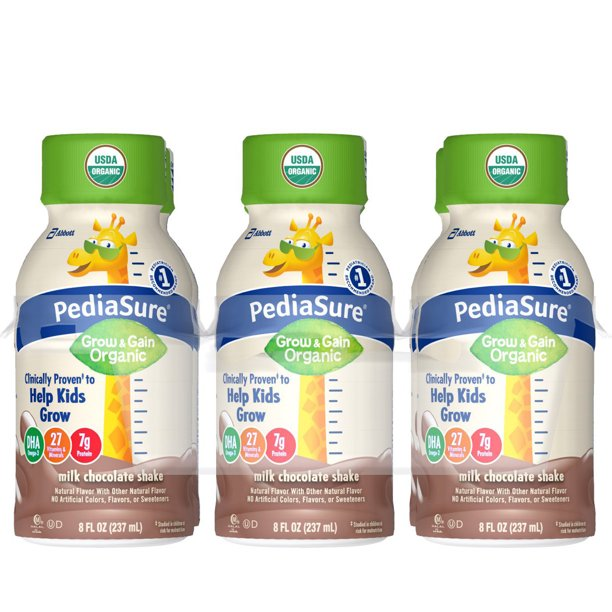 PediaSure Organic Kid's Nutrition Shake, Non-GMO, No Artificial Flavors Or Colors, No Artificial Growth Hormones, 7g Protein, 32mg DHA Omega-3, Milk Chocolate, 8 fl oz, 6 Count