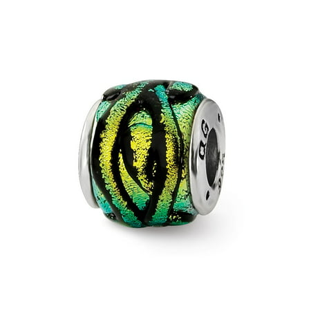 Dichroic Glass and Sterling Silver Yellow Striped Bead Charm, (Striped Dichroic Glass)