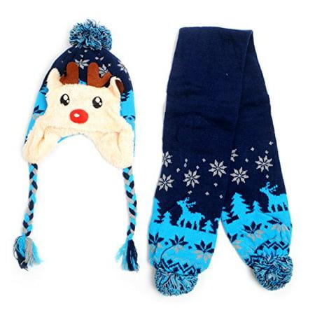 Kid's Scandinavian Reindeer Trapper Hat and Scarf Winter Set