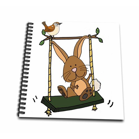 3dRose Funny Cute Brown Bunny Rabbit and Wren Bird on Swing - Mini Notepad, 4 by -