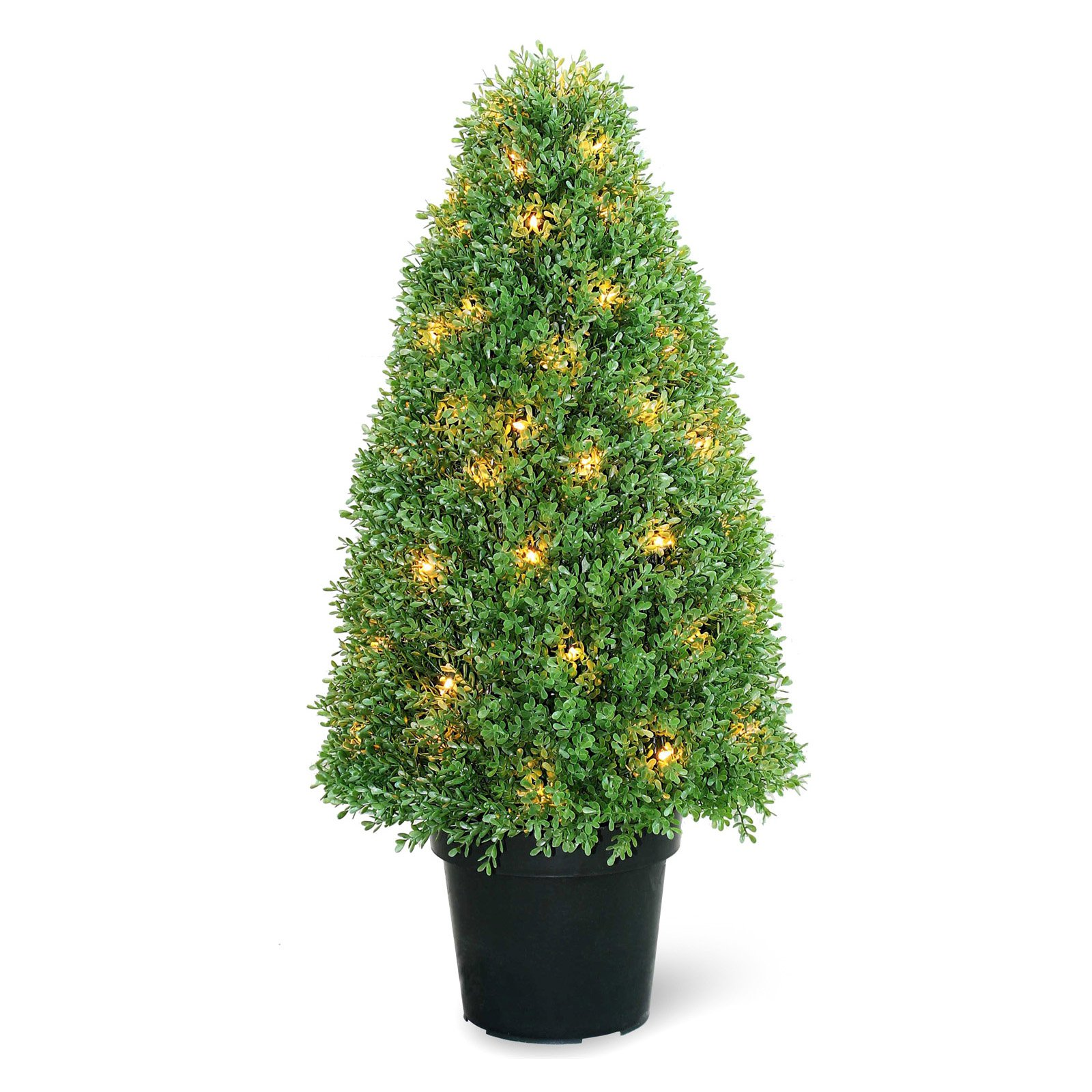 "Pre-Lit 36"" Artificial Boxwood Tree"