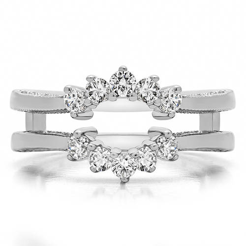 Personalized TwoBirch Double Shared Prong Wedding Ring Guard