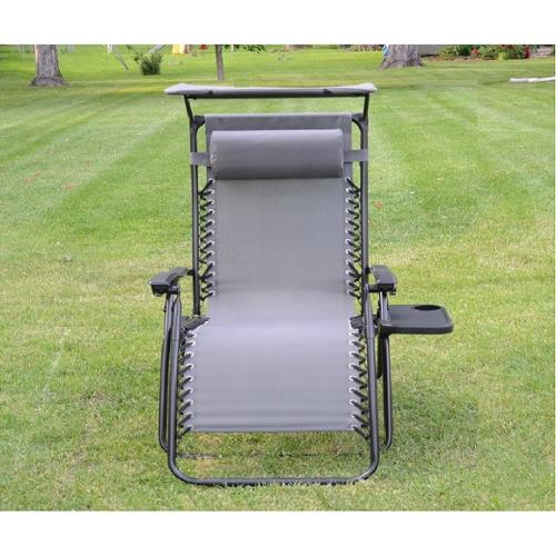 Styled Shopping Inc Deluxe Zero Gravity Chair with Canopy and Tray - Gray