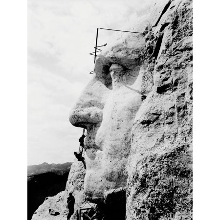 Mount Rushmore Charm (Construction of George Washingtons face on Mount Rushmore 1932 Poster Print by John ParrotStocktrek Images)