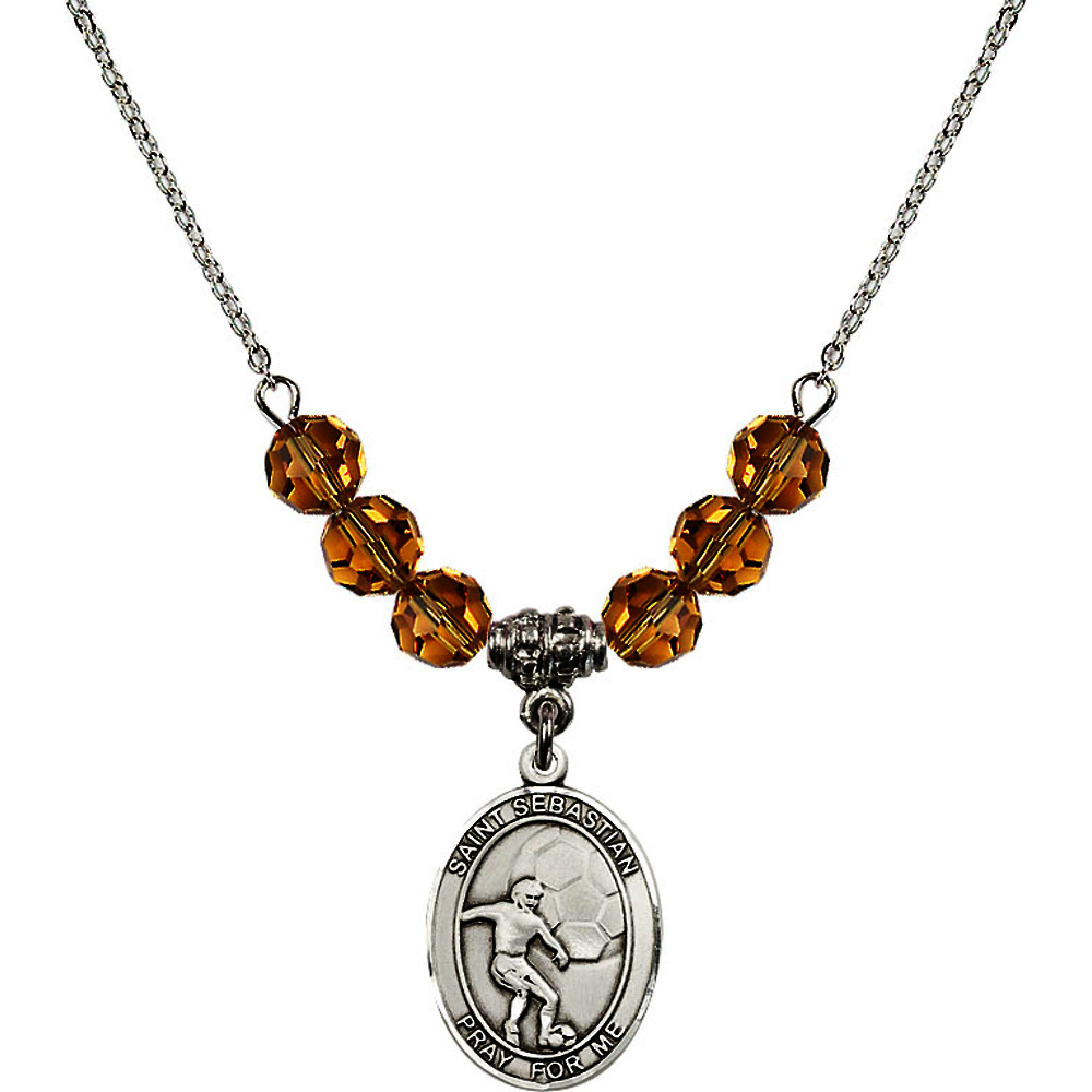 18-Inch Rhodium Plated Necklace with 6mm Yellow November Birth Month Stone Beads and Saint Sebastian / Soccer Charm