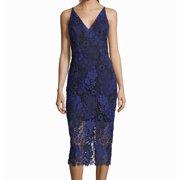Women's Sheath Dress Blue Floral Lace V-Neck 4