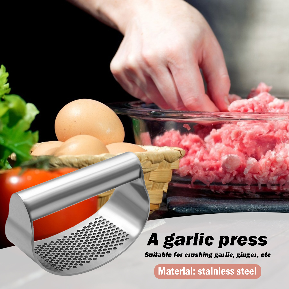 STAINLESS STEEL CURVED GARLIC PRESS CHOPPER CRUSH DURABLE MANUAL MINCING MASHER