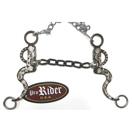 "Western Sweet Iron Silver Engraved 5-1/4"" Chain Mouth Horse Bit Tack Rodeo 35155"