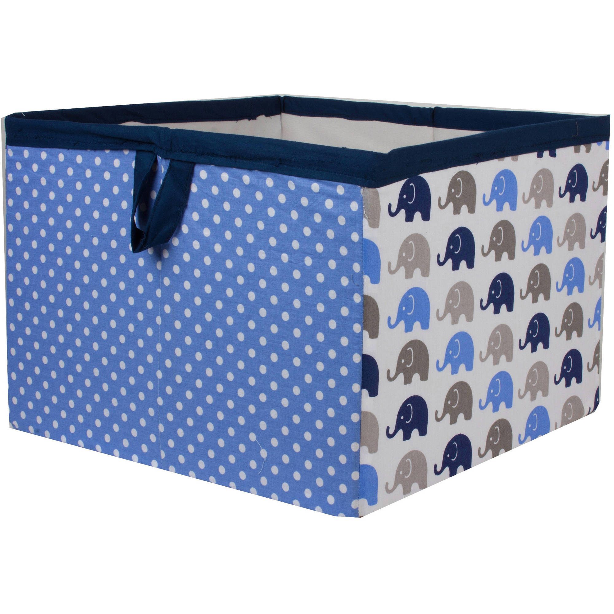Bacati - Elephants Blue/Gray Cotton Percale Fabric covered Storage, Large Box, 14 x 14 x 10 inches