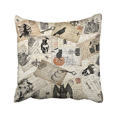 WinHome Modern Vintage Halloween Skull Pumpkin Postcards Elegant Style Polyester 18 x 18 Inch Square Throw Pillow Covers With Hidden Zipper Home Sofa Cushion Decorative Pillowcases](Ebay Postcards Vintage Halloween)