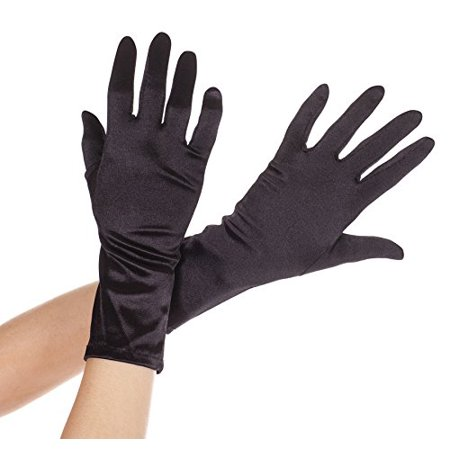 MUSIC LEGS Women's Wrist Length Satin Gloves, Black, One Size (8 Button Length Satin Gloves)
