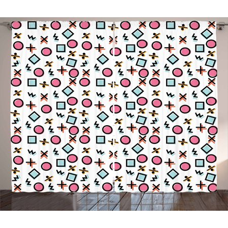 Pale Pink Curtains 2 Panels Set, Memphis Pattern with Colorful Geometrical  Shapes Mathematical Symbols, Window Drapes for Living Room Bedroom, 108W X