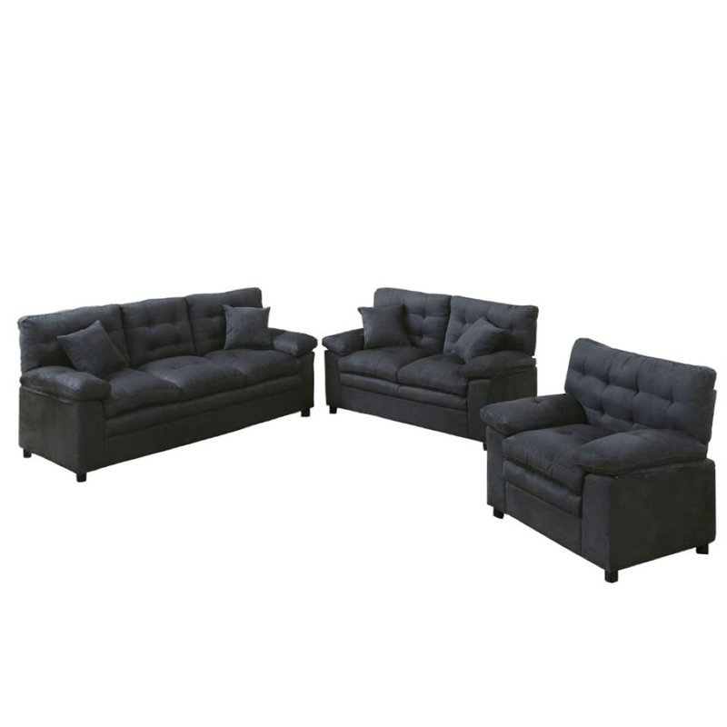 Poundex Bobkona Colona 3 Piece Sofa Set In Ash