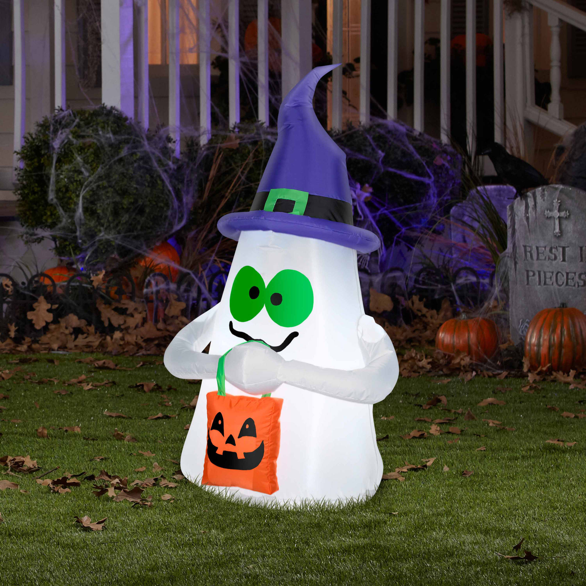 airblown inflatables outdoor ghost with candy tote small halloween decoration