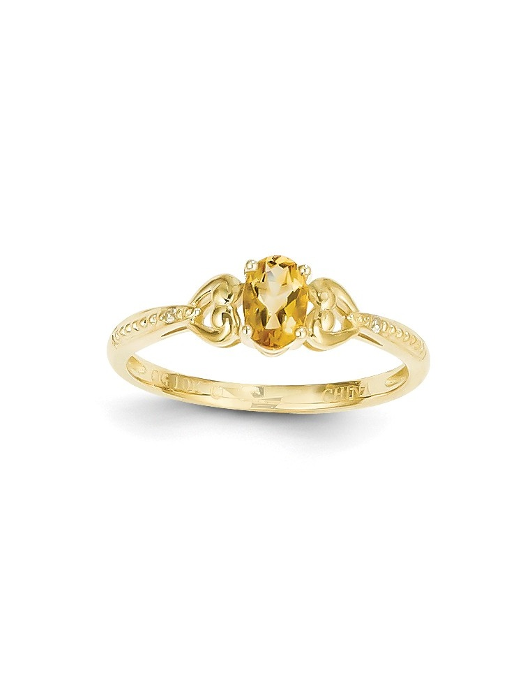 10K Yellow Gold (.01cttw) Citrine Diamond Ring by