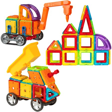 Best Choice Products 162-Piece Kids Educational STEM Magnetic Building Block Tiles Toy Set for Color/Shape Recognition, Motor Development w/ Excavator Dump Truck - Multicolor - Building For Kids