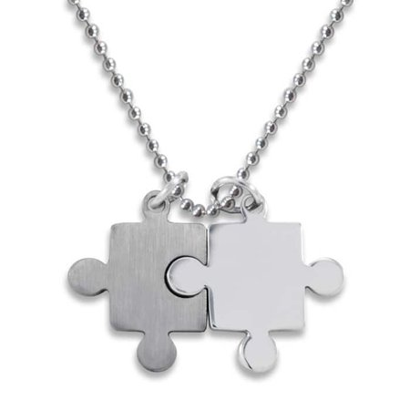 Stainless Steel Brushed/ Polished Puzzle Piece Necklace (Puzzle Piece Necklace Set)