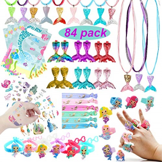 Mermaid Party Favors Wristband DIY Pendant Tattoos Gift Bags for Girls Mermaid Under The Sea Party