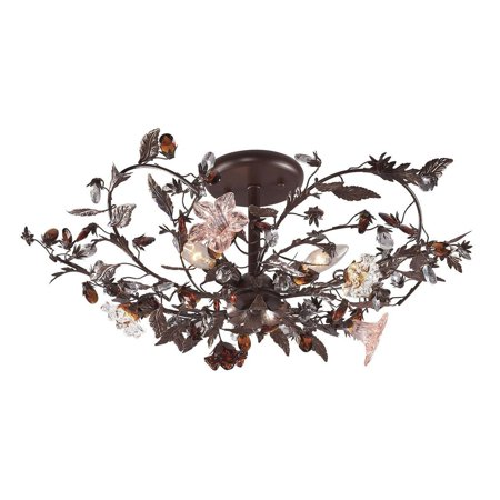Floret 3 Light - New Product  Cristallo Fiore 3 Light Flushmount In Deep Rust With Crystal Florets 7046/3 Sold by VaasuHomes