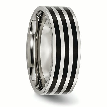 Stainless Steel 8mm Black Plated Striped Wedding Ring Band Size 7.00 Fashion Jewelry Gifts For Women For Her - image 4 de 10