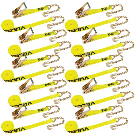 Vulcan Classic Ratchet Strap With Chain Anchors - 3,600 lbs. Safe Working Load (2'' x 27' - Pack of 10) ()