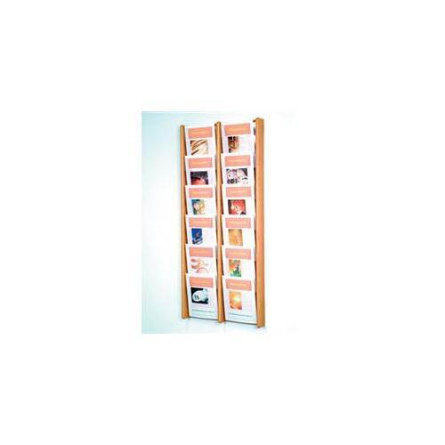 12-Pocket Vertical Solid Wood Magazine Rack