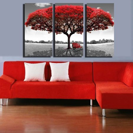 Large Red Tree Canvas Modern Home Wall Decor Art Painting Picture ...