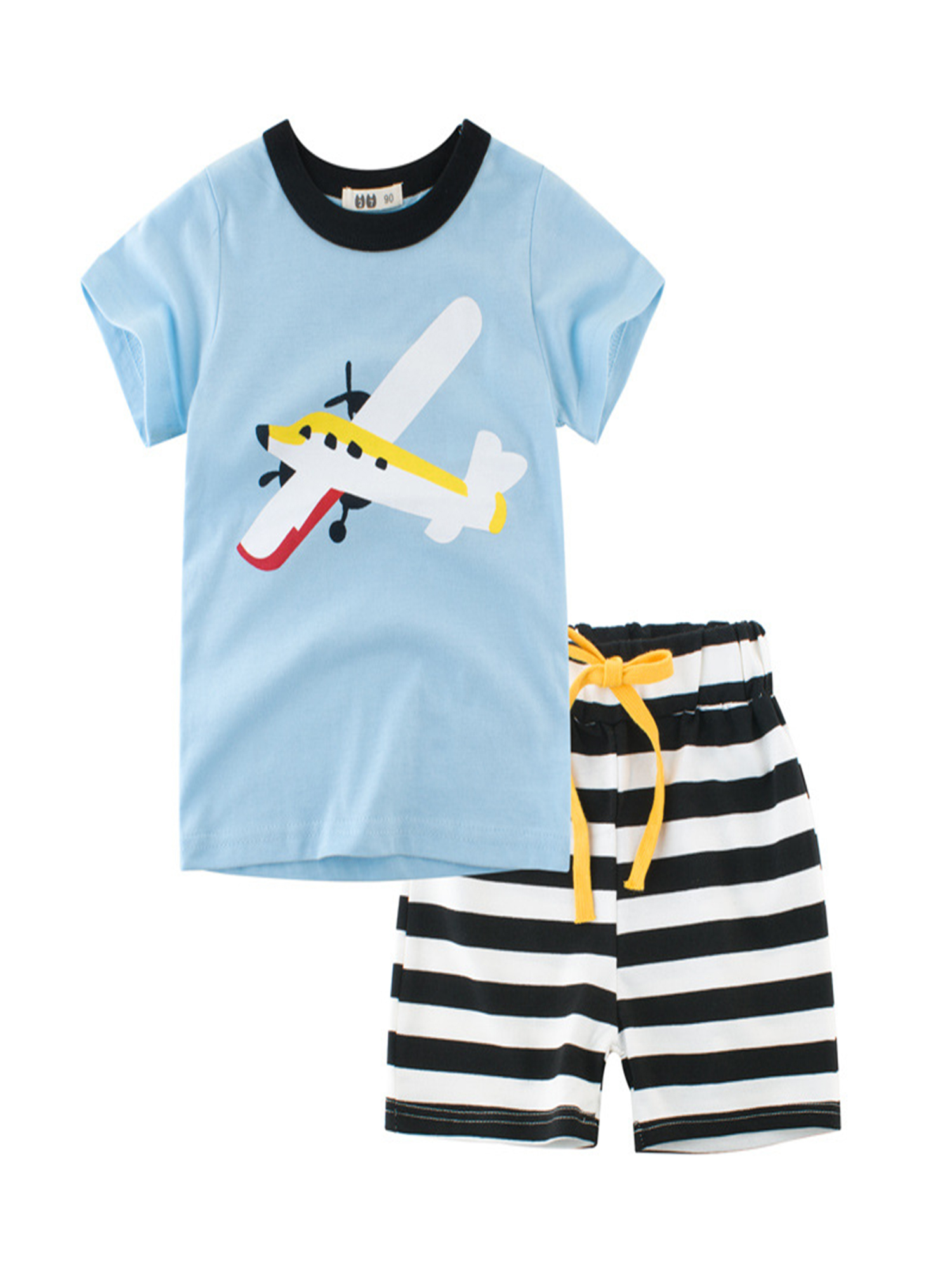 for 0-3 Years Old Baby Boys Outfit,Cute Newborn Baby Boy Cartoon Striped Print T-Shirt Tops and Pocket Pants 2PCS Outfits Summer Tracksuit Clothes