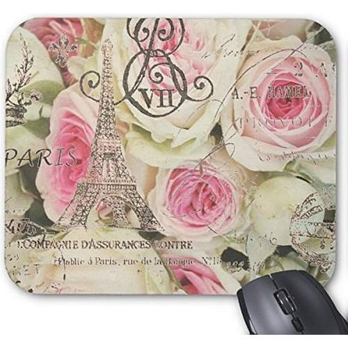 POPCreation Vintage Floral Paris Pink Rose Mouse pads Gaming Mouse Pad 9.84x7.87 inches