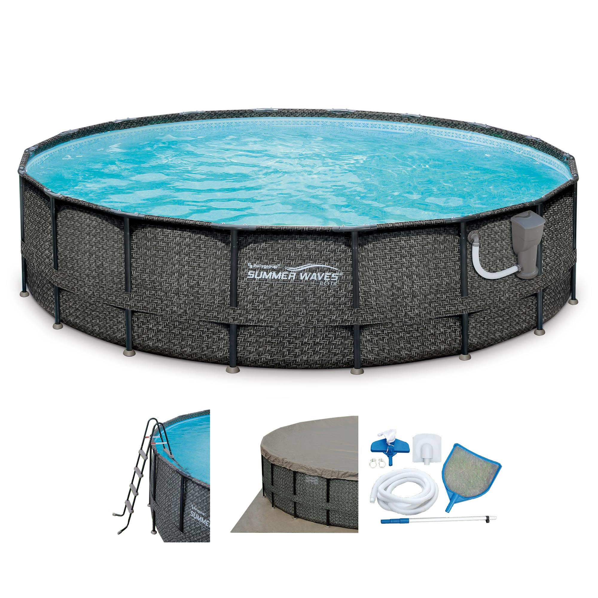"Summer Waves Elite Wicker Print 20' x 48"" Above Ground Frame Pool Set w/ Pump"