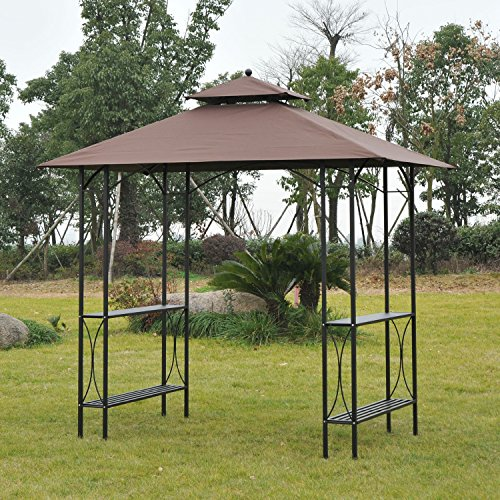 Outsunny 8u0027 2-Tier Outdoor BBQ Grill Gazebo w/ Bar Shelves - Coffee & Grill Gazebo
