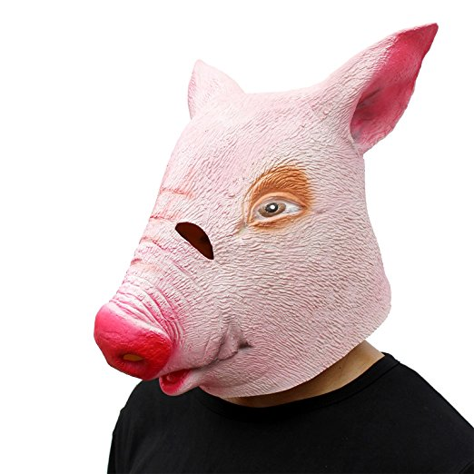 Deluxe Novelty Halloween Costume Party Latex Animal Head Mask Funny Pig One Size