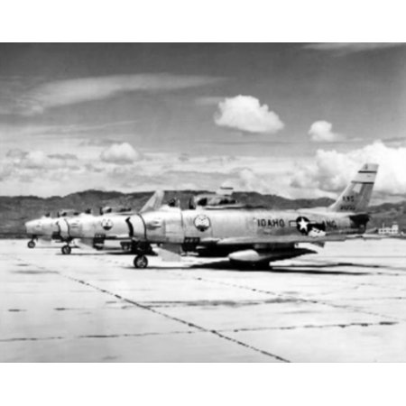 LAMINATED POSTER A U.S. Air Force North American F-86A Sabre fighters from the 190th Fighter Interceptor Squadron, 12 Poster Print 24 x - Sabre Interceptor