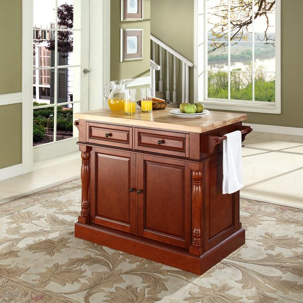 crosley butcher block top kitchen island crosley furniture kf30006ch butcher block top kitchen island in cherry walmart com walmart com 8330