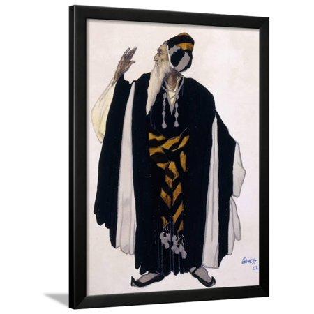 Costume Design for a Jewish Elder for the Drama 'Judith', 1922 (Pencil, W/C and Gouache on Paper) Framed Print Wall Art By Leon Bakst - Jewish Costume