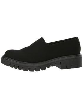 a0c2b073eb8 Product Image Shellys London Karen Black Stretch Fabric Trendy Chunky  Platform Sole Loafer (41)