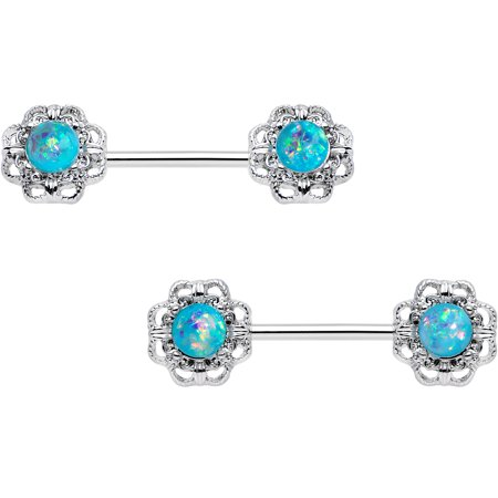 Body Candy Iridescent Blue Accent Filigree Frame Barbell Nipple Ring Set of 2 14 Gauge