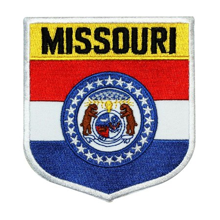 State Flag Shield Missouri Patch Badge Travel USA Embroidered Iron On Applique