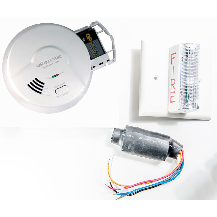 USI 120 Volt Ionization Smoke Alarm & Strobe Kit for Hearing Impaired - Meets ADA Requirements (2453)