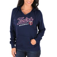 Women's Majestic Navy Minnesota Twins Fresh & Exciting V-Neck Pullover Hoodie