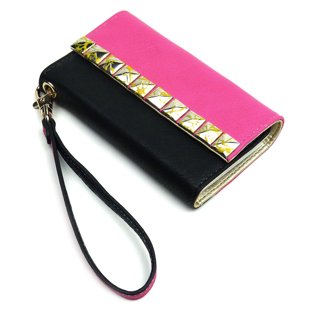 JAVOedge Studded Color Block Wallet Case for the Apple iPhone 5S / 5