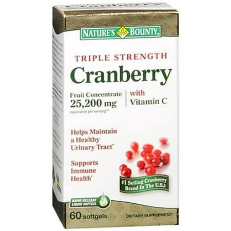 Triple Strength Natural Cranberry - Nature's Bounty Cranberry Softgels Triple Strength 60 Soft Gels (Pack of 3)