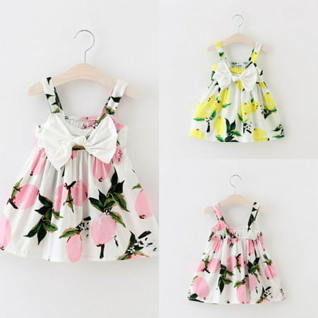 Girls Pretty Dresses (Pretty Baby Infant Girls Floral Bowknot Summer Lemon Dress Sundress Clothes)