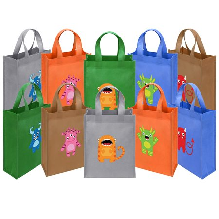 1st Birthday Party Loot Bags - Ava & Kings Fabric Tote Party Favor Goodie Gift Bags for Candy, Treats, Toys, Loot - Birthdays, Weddings, Showers, Easter, Halloween, Lunch, Grocery - Designs for Kids Boys Girls Adults - Set of 10