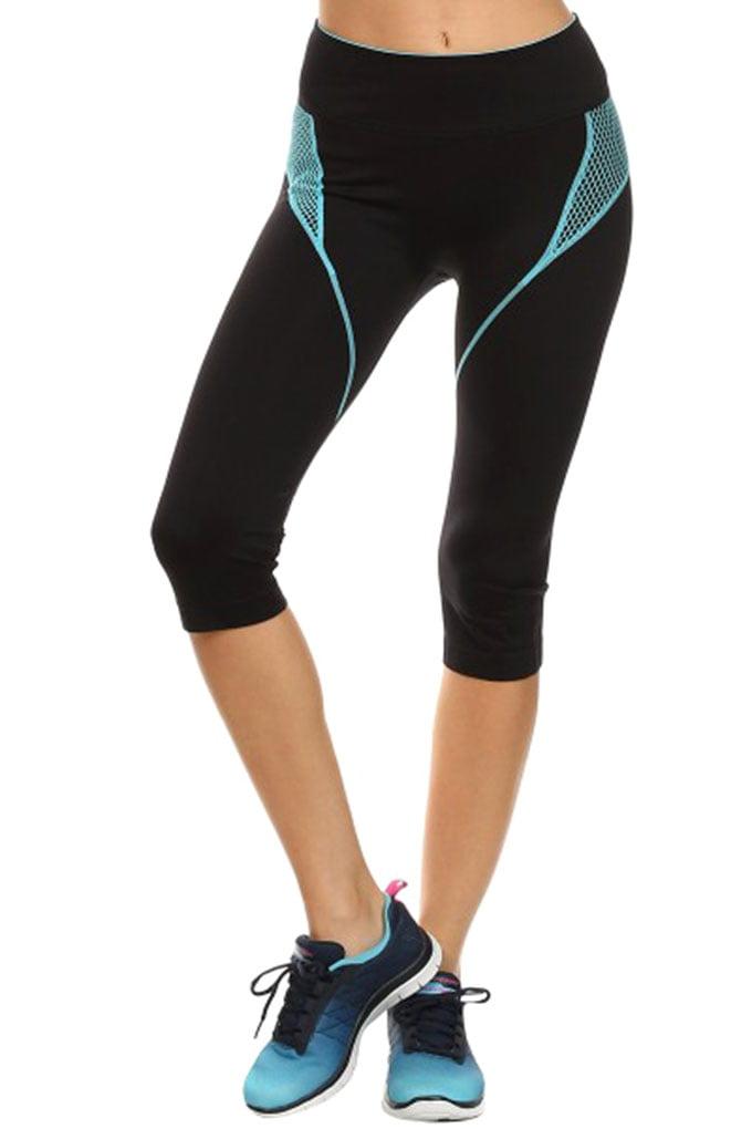 Simplicity Women Seamless Active Capris Workout Pants, Stretch Fit, Blue, L/XL