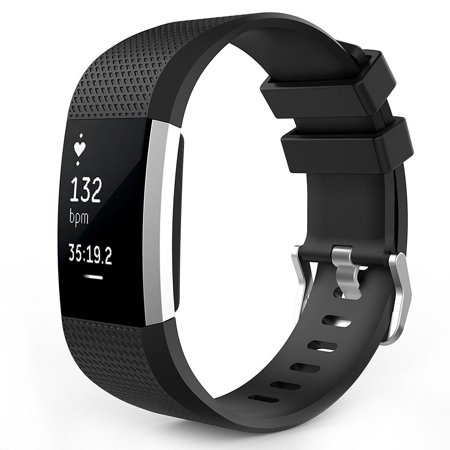 Fitbit Charge 2 Watch Bands, Mignova Soft Silicone Replacement Sport Watch Wrist Band Strap for Fitbit Charge 2 Fitness Tracker - Large Size (Black)
