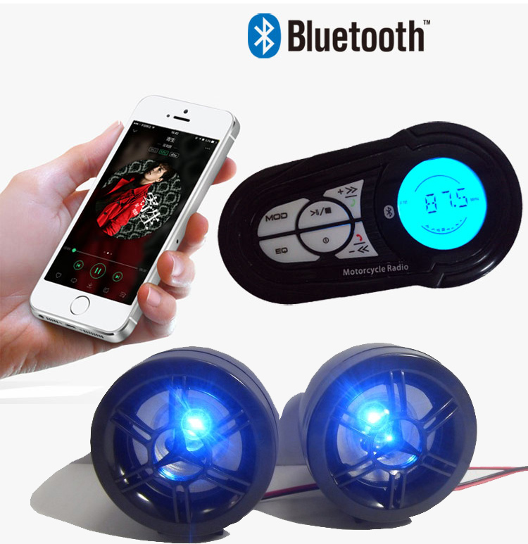 iMeshbean Motorcycle Speakers-Bluetooth Audio System with FM Radio and MP3 Player(Read USB and SD Card)(Black)