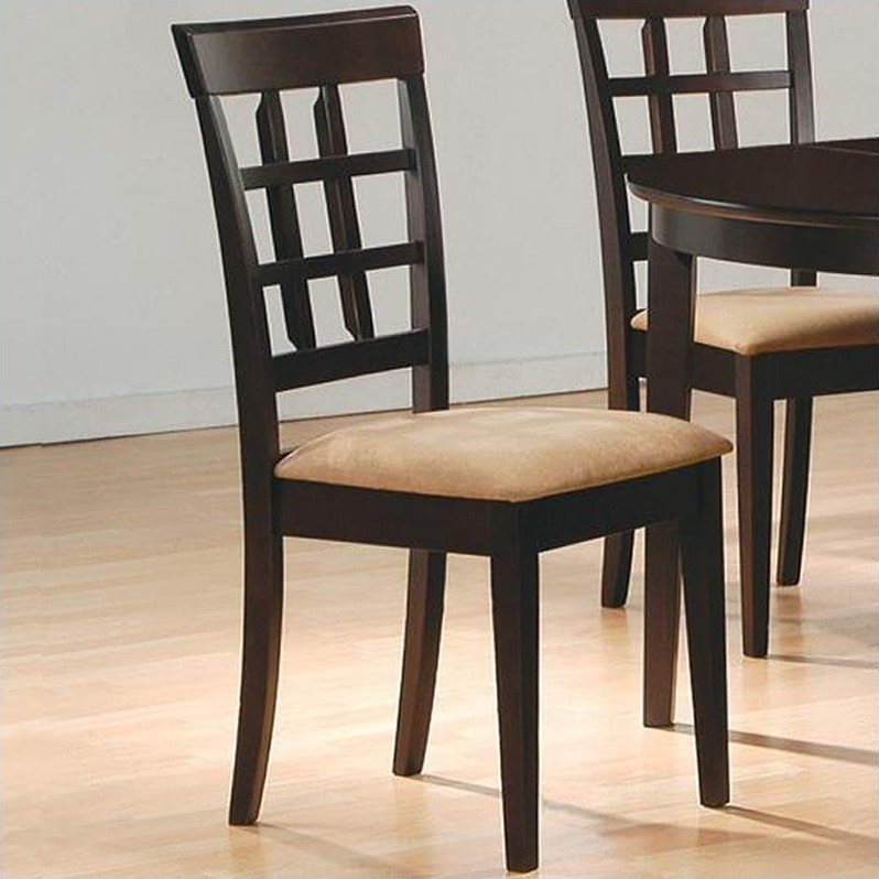 Coaster Hyde Lattice Back Dining Chair with Fabric Seat in Cappucino